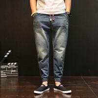 夏季牛仔裤男士夏季青少年束脚韩版哈伦裤宽松大码小脚裤复古长裤子 蓝色