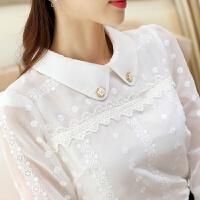 娃娃领雪纺衫衬衫女2018春装新款韩版女装长袖白色上衣蕾丝打底衫 白色