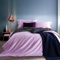 当当优品贡缎四件套 60支长绒棉纯色 水晶紫