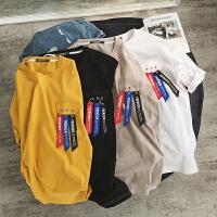 2017夏季宽松男士短袖韩版休闲个性口袋青少年半截袖潮流T恤衫