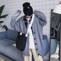 春装新款港风男宽松V领针织开衫外套 小清新休闲纯色免烫毛衣