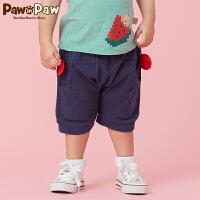 【3件3折 到手价:89】Pawinpaw卡通小熊童装夏款男宝宝休闲七分裤婴幼儿可爱大PP裤
