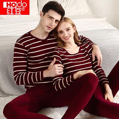 红豆保暖内衣秋衣秋裤男女士红豆绒色纺针织条纹薄款棉毛衫棉毛裤套装