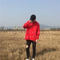 日系连帽卫衣男套头带帽假两件韩版宽松个性百搭潮流学生嘻哈外套