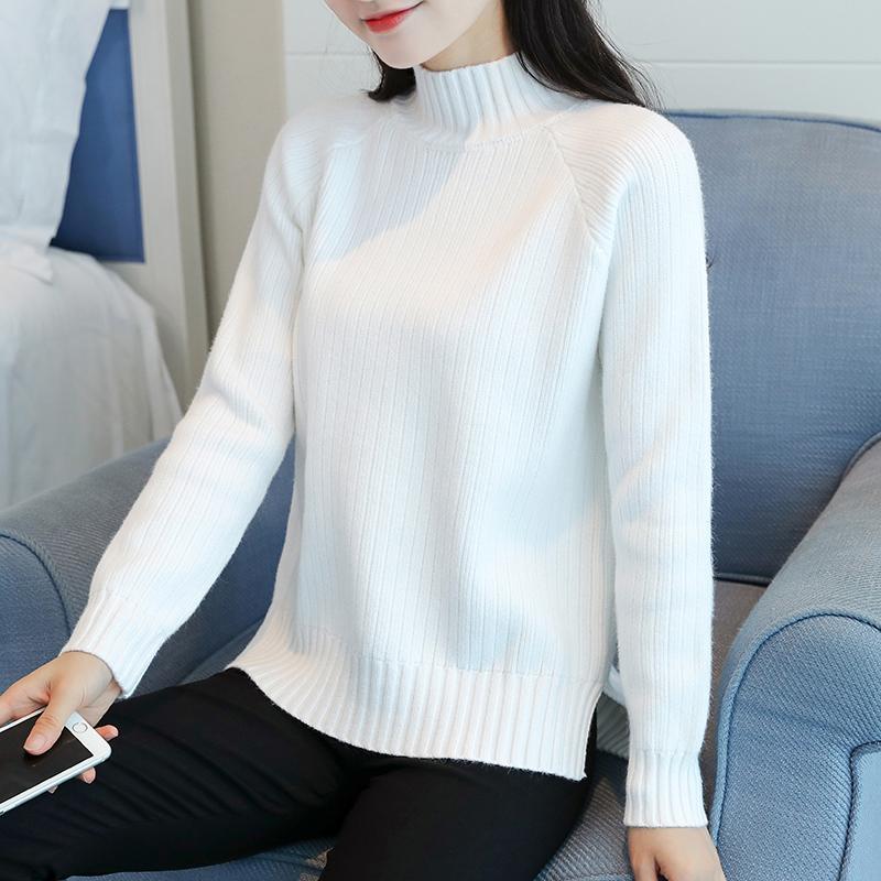 半高领毛衣女士白色秋冬长袖百搭韩版套头加厚短款修身打底针织衫
