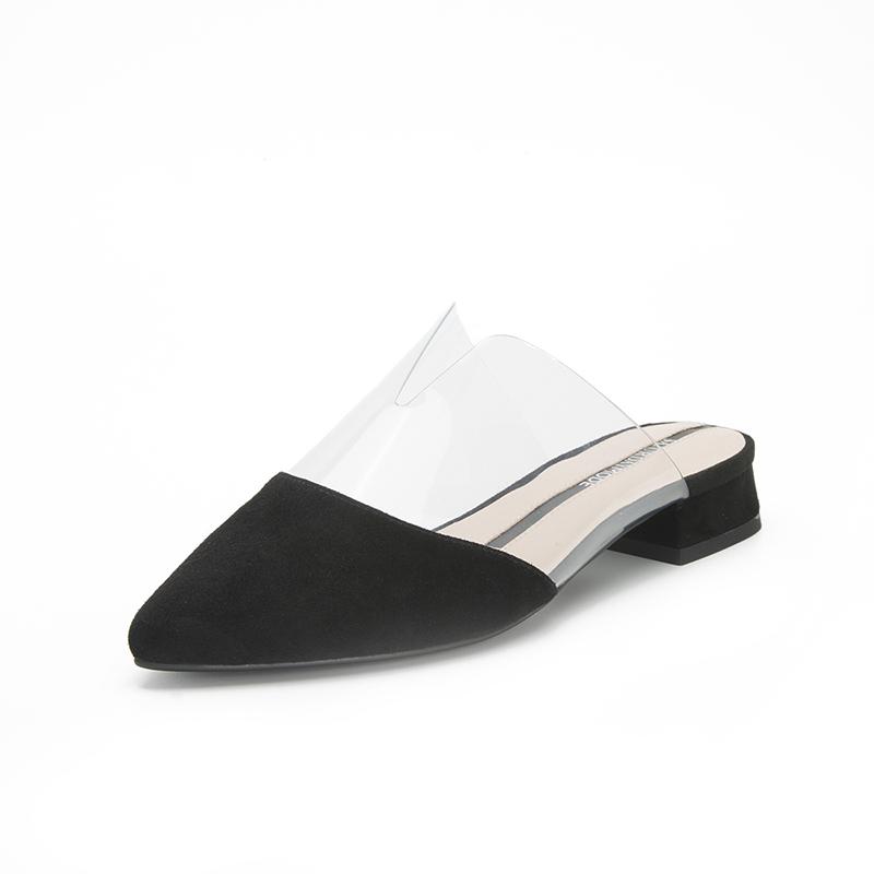 SATURDAYMODE 2019年春季专柜新品绒面羊皮革拼接时髦穆勒拖鞋MD91110003