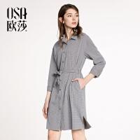 OSA欧莎2018春装新款黑白格系带收腰连衣裙女A13015