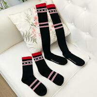 秋冬新款韩版高筒袜子长腿袜过膝袜条纹五角星字母印花打底袜