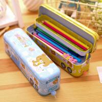 多功能文具盒三层铅笔盒铁质儿童小学生马口铁笔盒铁盒男童女礼品