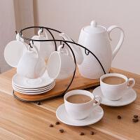 家用茶杯简约花茶壶杯具咖啡杯陶瓷水具套装