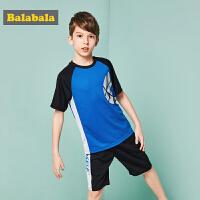 巴拉巴拉童装男童套装中大童儿童两件套夏装2018新款运动短袖裤子