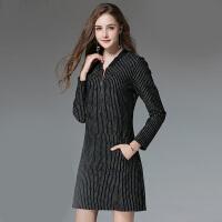 200斤胖mm冬季连衣裙大码女装减龄妈妈装长袖修身显瘦短裙子
