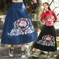 冬季新款高腰显瘦半身裙长裙 绣花中国风元素民族风棉麻长裙