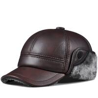 新秋冬季棒球帽男士中老年人保暖护耳帽户外头层牛皮鸭舌帽子