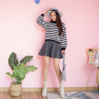 (35)时尚套装女韩版条纹灯笼袖毛衣高腰针织半身裙两件套