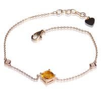 梦克拉 18k金黄水晶钻石手链 相思意 k金黄晶手饰女款 可礼品卡购买