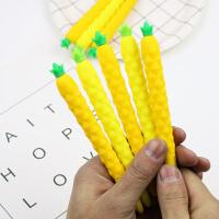可爱软硅胶菠胡萝卜中性笔学生创意文具卡通小清新水果针管笔5支装