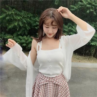 韩版时尚休闲套装夏装女雪纺防晒衫外套吊带半身裤裙学生三件套潮  均码