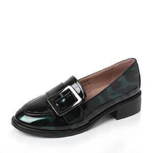 Tata/他她2017秋PU几何大扣撞色方跟套脚浅口女鞋2HC83CQ7