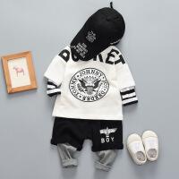 宝宝春装男1-3岁套装时尚婴儿个性潮衣一岁小童洋气嘻哈外出服装