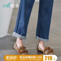 茵曼女鞋2018年新款时尚格纹金属单鞋英伦复古平跟秋鞋4883011174