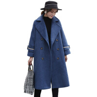 呢子大衣女秋冬季2018新款过膝中长款加厚显瘦毛呢外套 雾霾蓝