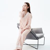 式纯棉睡衣女春秋长袖系带性感蕾丝可外穿家居服套装薄款