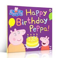英文原版绘本 Peppa Pig: Happy Birthday Peppa! 生日快乐佩奇粉红猪小妹小猪佩奇 大开图
