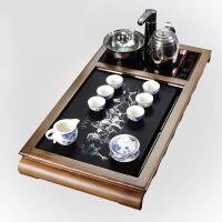 木茶具茶盘套装电磁炉茶台鸡翅木玻璃茶盘 茶色