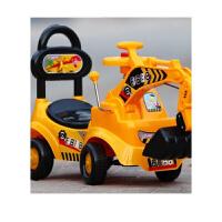 儿童玩具挖掘机学步车可坐可骑大号挖土机四轮音乐滑行扭扭车