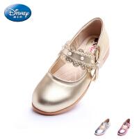 迪士尼童鞋2017新款女童时尚单鞋小童粉色学生鞋儿童时装皮鞋DS1955