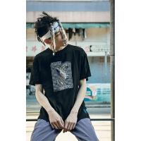 韩版ins紫色印花简约情侣款打底衫黑白色学生圆领宽松短袖T恤
