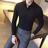 新款秋装男士长袖衬衫韩版修身时尚男装休闲黑色衬衣烫潮流衣服