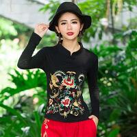 秋装新款 民族风刺绣长袖立领盘扣修身绣花T恤棉中国风女上衣