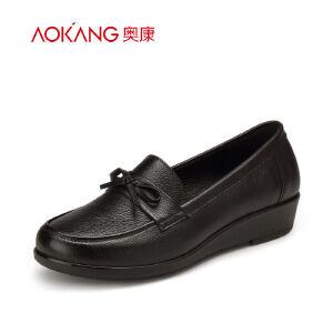 奥康女鞋 新款 中老年舒适女单鞋坡跟豆豆鞋妈妈鞋