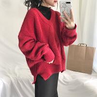 韩版慵懒风宽松V领针织套头毛衣女纯色复古加厚保暖开叉打底上衣