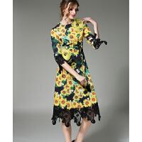 小礼服连衣裙印花聚会紧身性感气质时尚蕾丝拼接连衣裙女立体大花