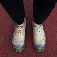 DAZED CONFUSED 潮牌秋冬季布洛克男鞋雕花皮鞋英伦复古潮鞋韩版潮流板鞋内增高休