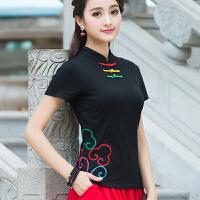 夏装新款 中国风女装 立领盘扣绣花上衣 民族风短袖刺绣T恤女
