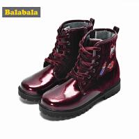 巴拉巴拉儿童靴子2017秋冬新款女童雪地靴冬季鞋中大童中靴马丁靴
