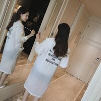2018夏季新款外套防晒衣女中长款薄防晒衫服韩版学生大码百搭风衣