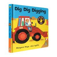 英文原版 Dig Dig Digging Touch-And-Feel Book 工程车 幼儿启蒙认知交通工具英文原版