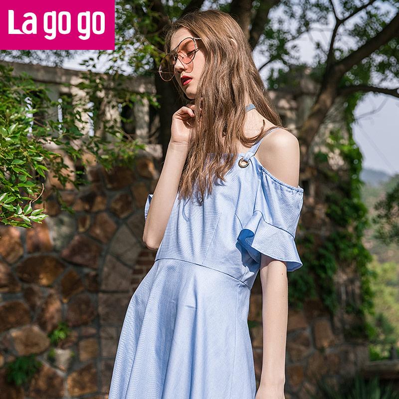 Lagogo拉谷谷2017夏新款喇叭袖a字裙漏肩吊带一字领短袖连衣裙女