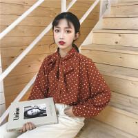 春装新款韩版chic复古宽松波点蝴蝶结系带长袖衬衫女上衣雪纺衫潮