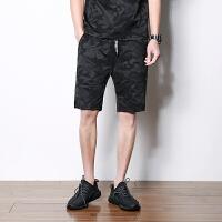 运动短裤男士夏季新款五分裤迷彩中裤男式跑步裤沙滩裤潮流时尚 黑色迷彩 3X