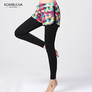 【限时特惠】KOMBUCHA瑜伽裤2018新款女士速干透气假两件防走光跑步健身运动紧身裤女K0047