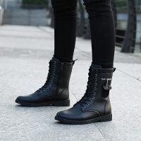 CUM 潮牌新款男靴秋冬季潮流皮靴子青少年运动学生军靴中筒马丁靴CQM