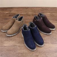 DAZED CONFUSED 潮牌男士复古百搭雪地靴中帮反绒牛皮加绒加厚休闲鞋保暖男靴