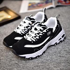 货到付款 新款秋冬女士跑步鞋增高运动休闲鞋斯凯奇同款鞋男旅游鞋熊猫鞋潮流透气情侣鞋