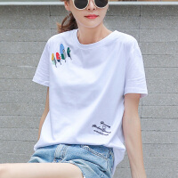 【超值2件装】【买一送一】2019新款纯棉上衣服白色短袖t恤女装宽松韩版半袖夏装潮